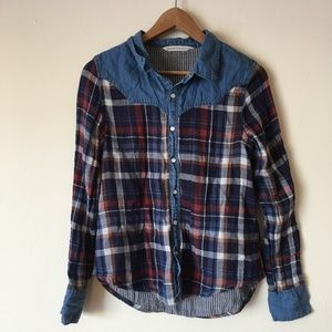 Plaid Denim Flannel Button Down